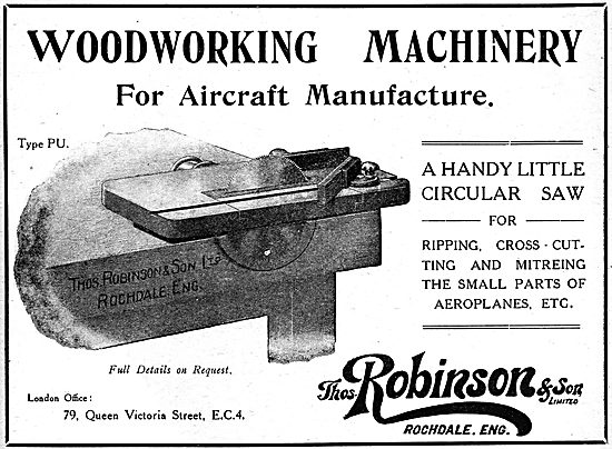 Thomas Robinson & Sons. Woodworking Machinery