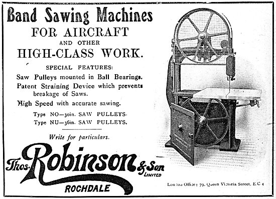 Thomas Robinson & Sons. Woodworking Machinery. 1919