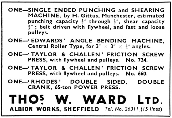 Thomas Ward. Machine Tool Accessories