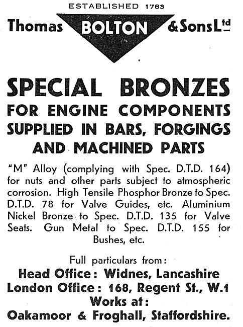 Thomas Bolton Special Bronzes For Aero Engine Components