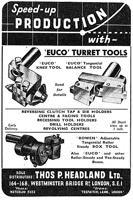 Thomas Headland Lathe Tools - Euco Turret Tools