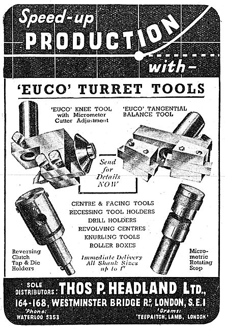 Thomas Headland Lathe Tools - Euco Turret Tools 1943 Advert
