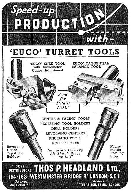 Thomas Headland Lathe Tools - Euco Turret Tools 1943 Advert
