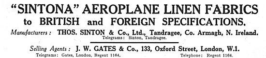 Thos Sinton & Co Sintionia Aeroplane Linen: Agents J.W.Gates & Co