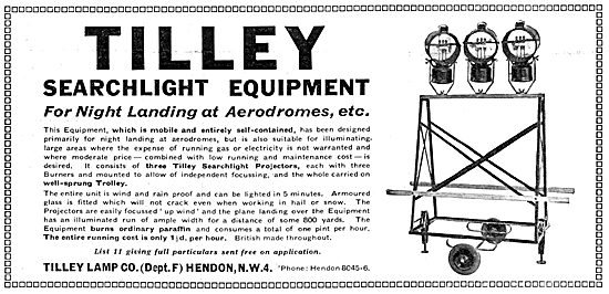 Tilley Lamp Co - Airfield Searchlight Equipment