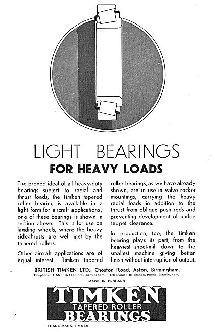 Timken Heavy Duty Bearings For Aircraft