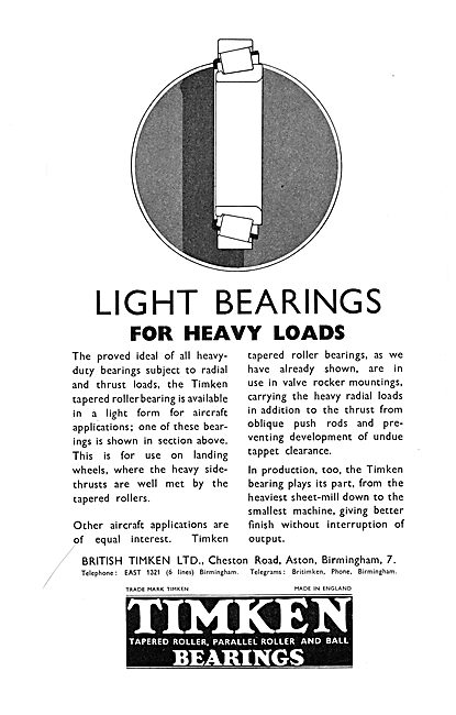 Timken Bearings 1937