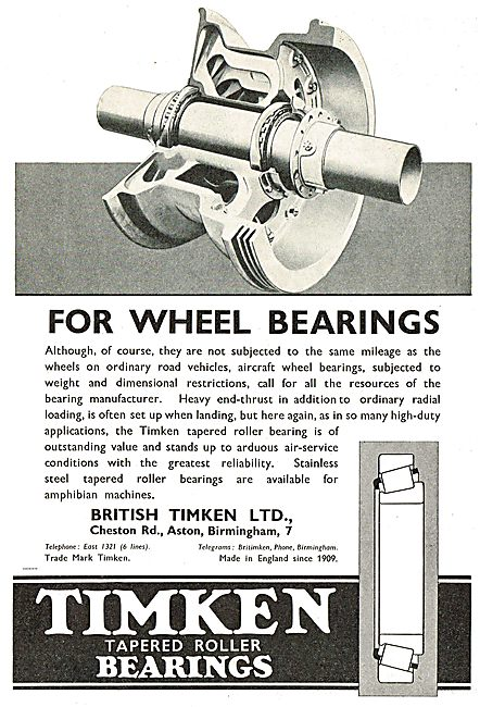Timken Wheel Bearings For Aircraft.