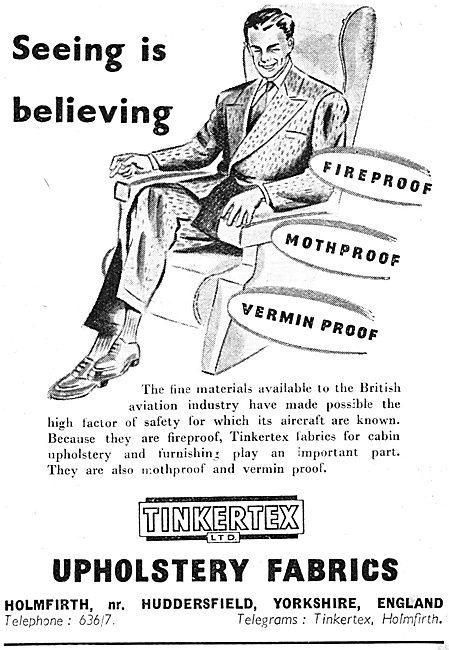 Tinkertex  Aircraft Upholstery Fabrics 1950 Advert