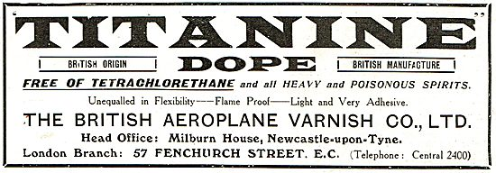 Titanine Aeroplane Dope Is Free From Tetrachlorethane