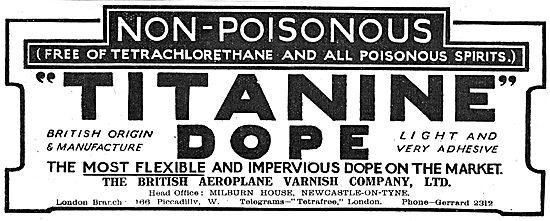 Titanine Non Poisonous Aeroplane Dope. British Made