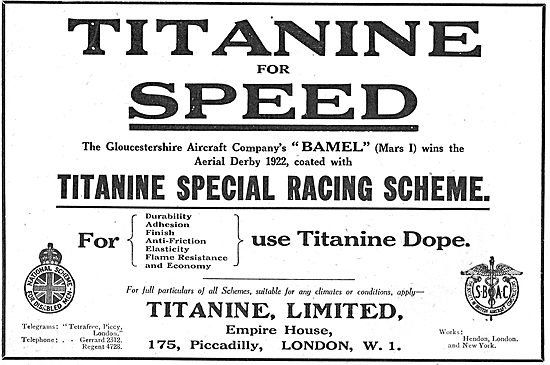 Gloster Chooses Titanine Aeroplane Dope For The Mars I