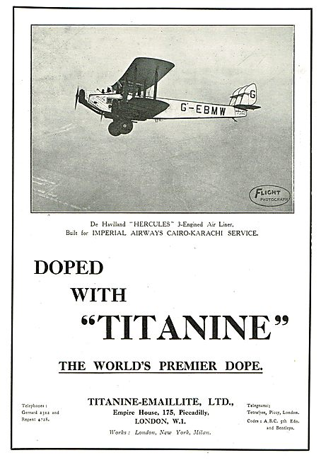 Titanine Dope Used On DH Hercules G-EBMW Of Imperial Airways