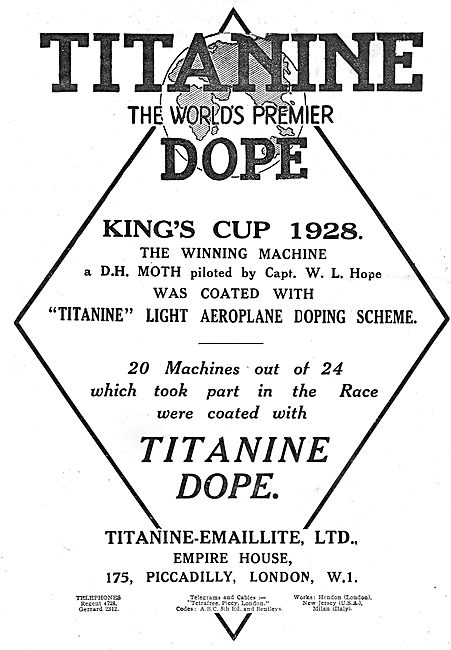Capt Hopes 1928 Kings Cup Winning Moth Doped With Titanine