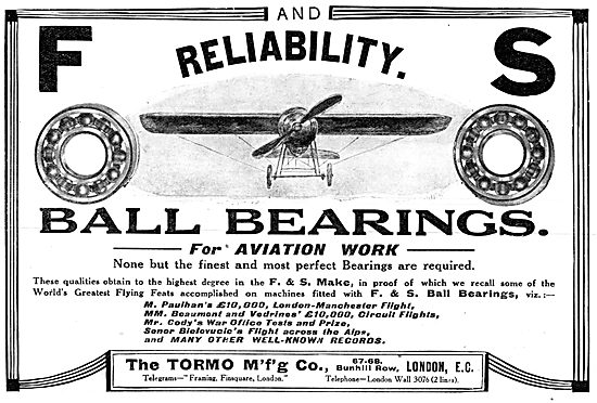 The Tormo Mfg Co F&S Ball Bearings