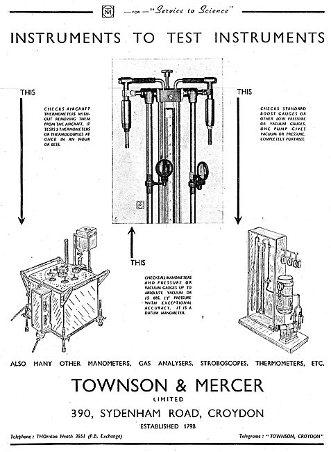 Townson & Mercer Industrial Test Instruments 1942
