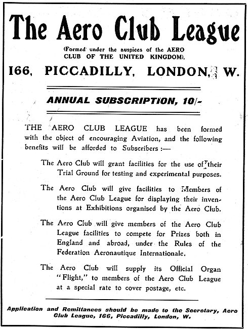 The Aero Club League: Encouraging Aviation. Subscription 10/-