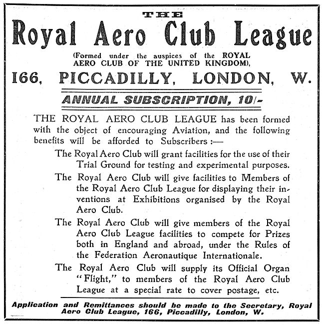 The Royal Aero Club League: Annual Subscription 10/-