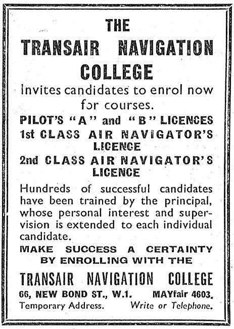 Transair Navigation College. A & B Licences 1947