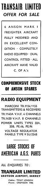 Transair. Croydon Airport. - Aircraft Spares Stockists