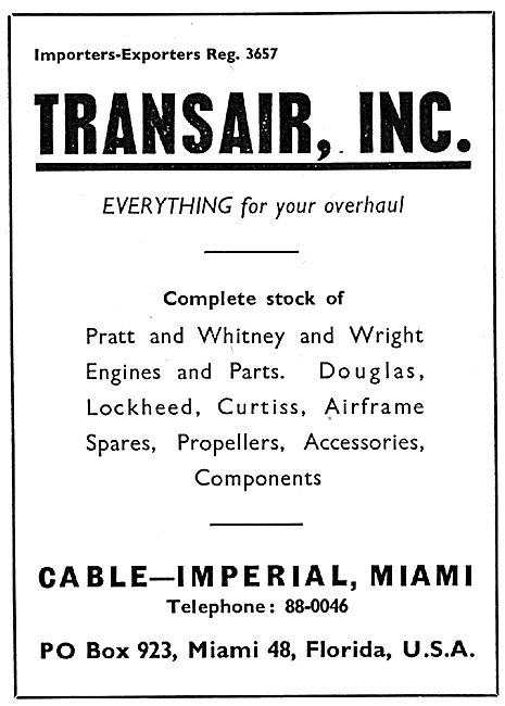 Transair Ic. Miami - Aircraft Spares Stockists