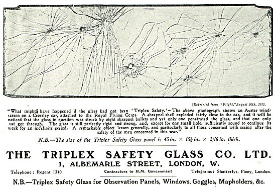 A Triplex Aeroplane Safety Glass Panel After Hits By Shrapnel