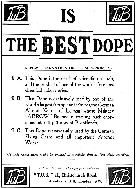 Tub Aeroplane Dope - Favoured By The German Flying Corps
