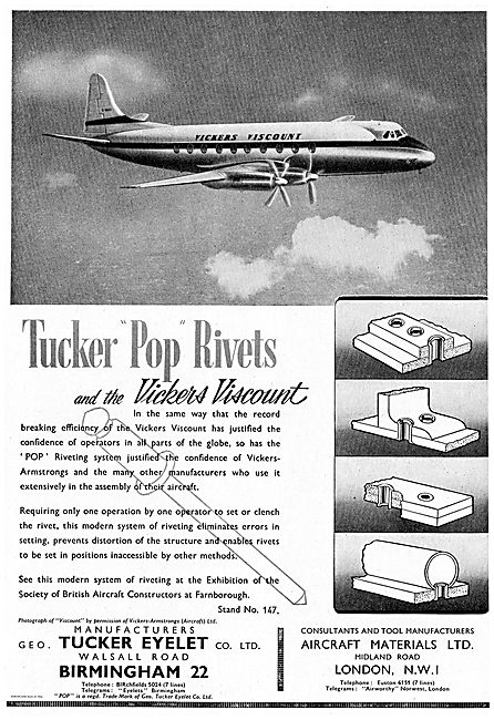 Tucker Pop Rivets Used On The New Vickers Viscount