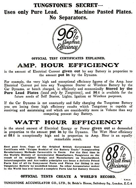 Tungstone Aircraft Batteries 96% AMP Hour Efficiency