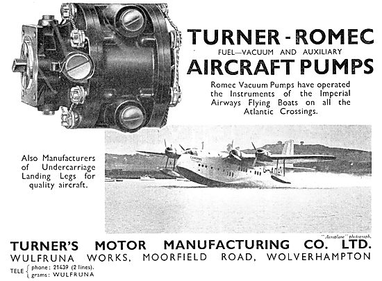 Turner's Motor Manufacturing. Turner-Romec Aircraft Pumps 1937