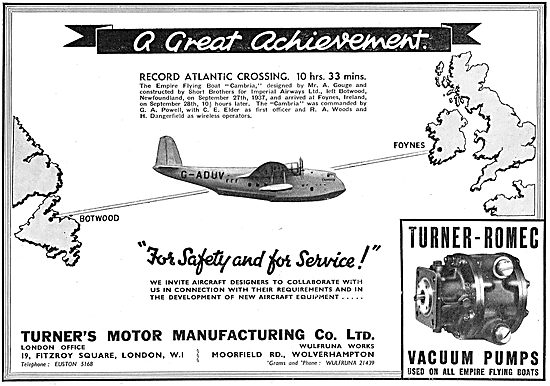 Turner Motor Manufacturing - Aircraft Component Manufacturers