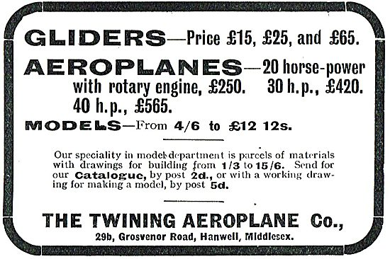 Twining Aeroplane Co - Gliders From £15 Aeroplanes From £250