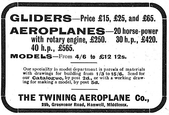 Twining Aeroplane Co - 20 HP Rotary Engine Aeroplanes From £250