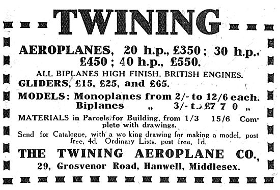 Twining Aeroplane Co: Full Size & Model Aeroplanes & Gliders
