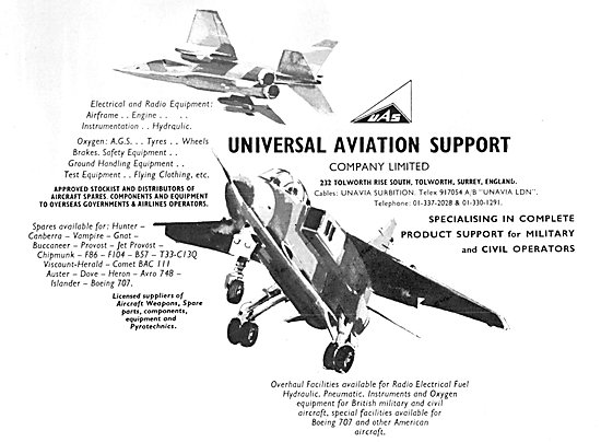 UAS - Universal Aviation Support Aircraft Parts Stockists 1980