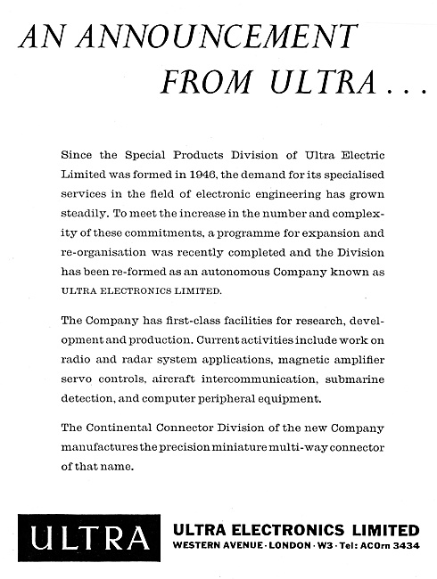 Ultra Electric  Electric & Avionics Equipment