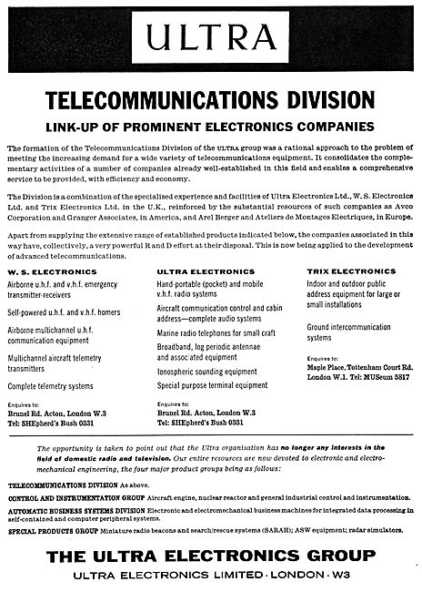 The Ultra Electronics Group - TRIX Electronics - W.S.Electronics