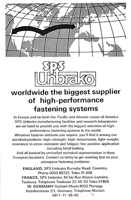 SPS Unbrako Fasteners & Fastening Tools For Aircraft.