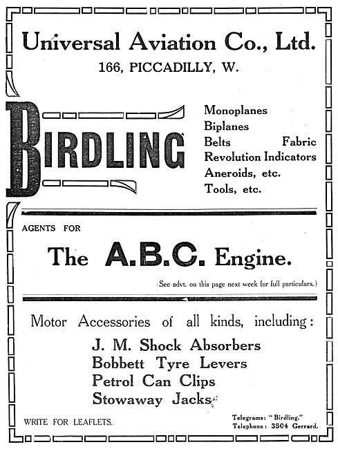 Universal Aviation Co. Birdling Aeroplanes. ABC Engines