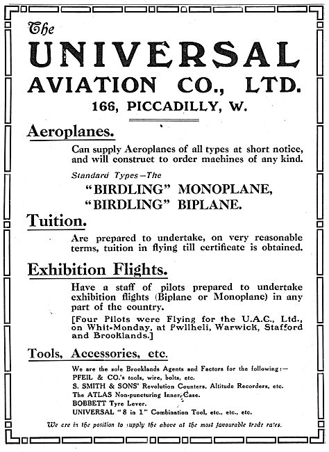 Universal Aviation Co - Birdling Monoplanes & Biplanes