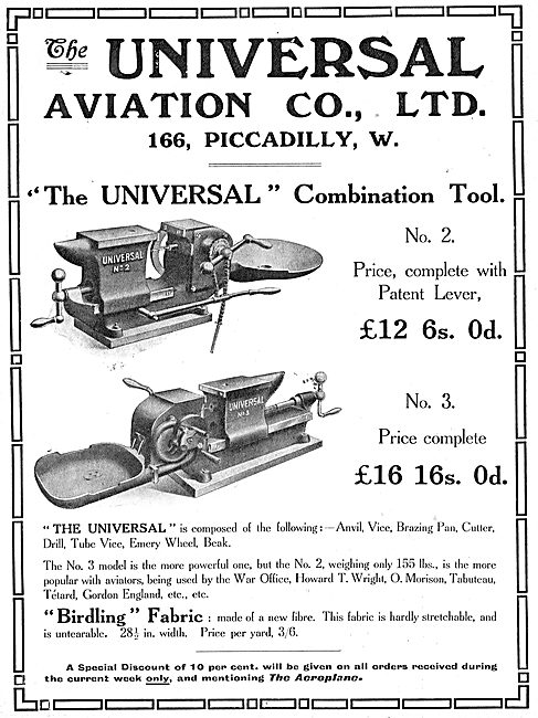 Universal Aviation Co. Machine Tools & Fabrics For Aeroplanes