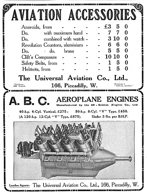 Universal Aviation Co. ABC Engines. Aviation Accessories
