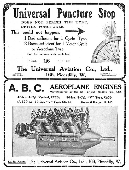 Universal Aviation Co. ABC Aero Engines. Puncture Kits