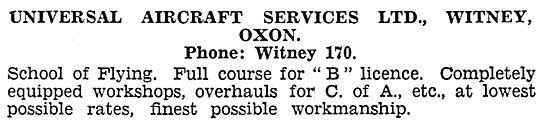 Universal Aircraft Services, Oxford. School Of Flying