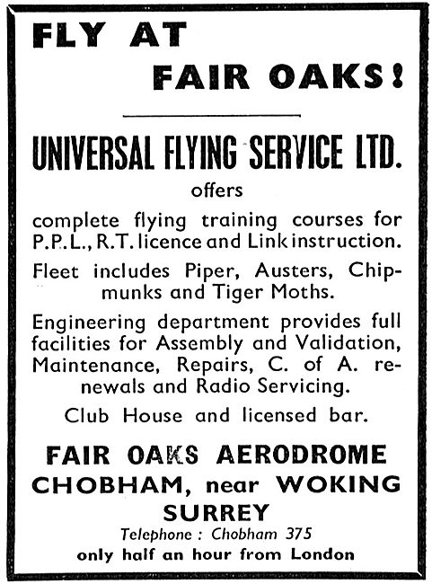 Universal Flying Service Fair Oaks. A/C Maintenance CofA's Etc
