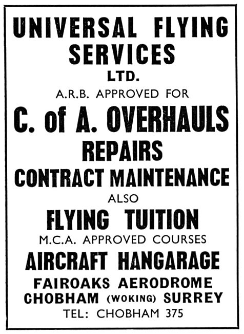 Universal Flying Service: Repairs & Flying Tution At Fairoaks