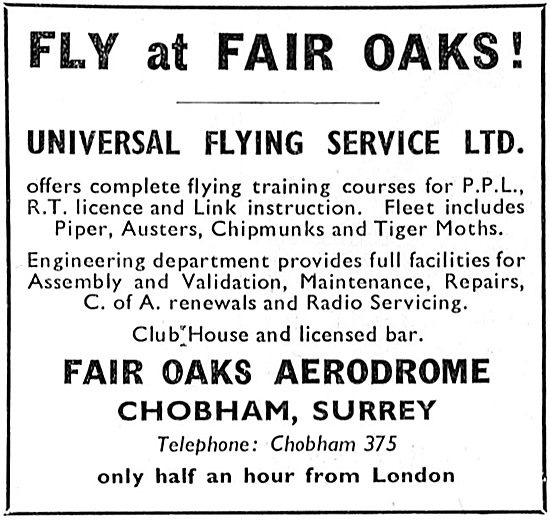 Universal Flying Service: Flying Tution At Fair Oaks Aerodrome