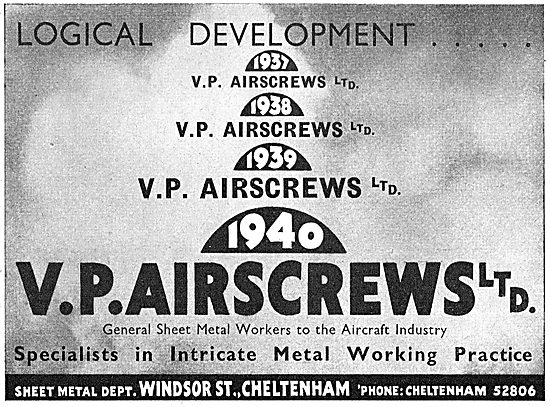 V.P.Airscrews - Sheet Metal Work. 1941