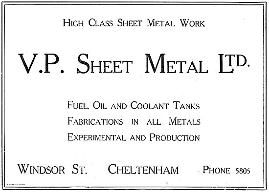 V.P. Sheet Metal Ltd: Aircraft Fuel, Oil & Coolant Tanks.