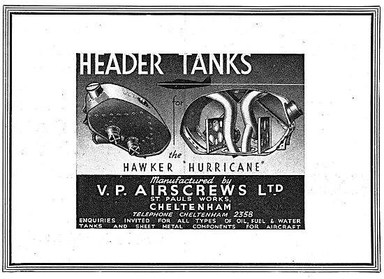 V.P. Airscrews. Cheltenham. Aircraft Sheet Metal Work. Tanks